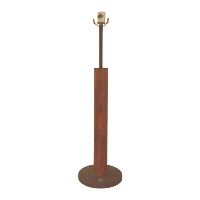 Image of Von Nessen Art Deco Barrel Wood Lamp