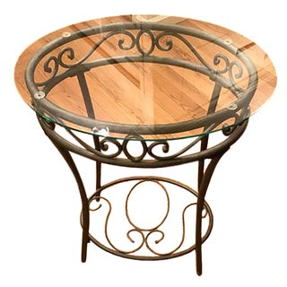 Bombay Company Glass & Wrought Iron Accent Table