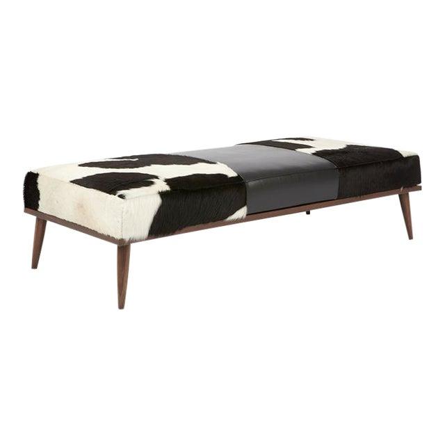 Elite Leather Black White Leather Bench Chairish