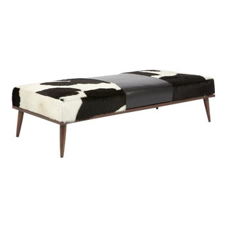 Elite Leather Black and White Leather Bench