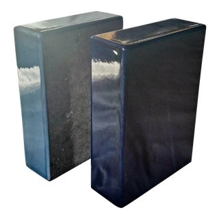 Enameled Lava Stone Bookends
