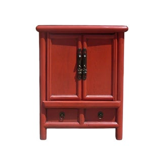 Red Lacquer Chinese Hardware End Table Nighstand