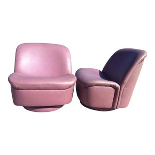 Directional Blush Leather Swivel Chairs - A Pair