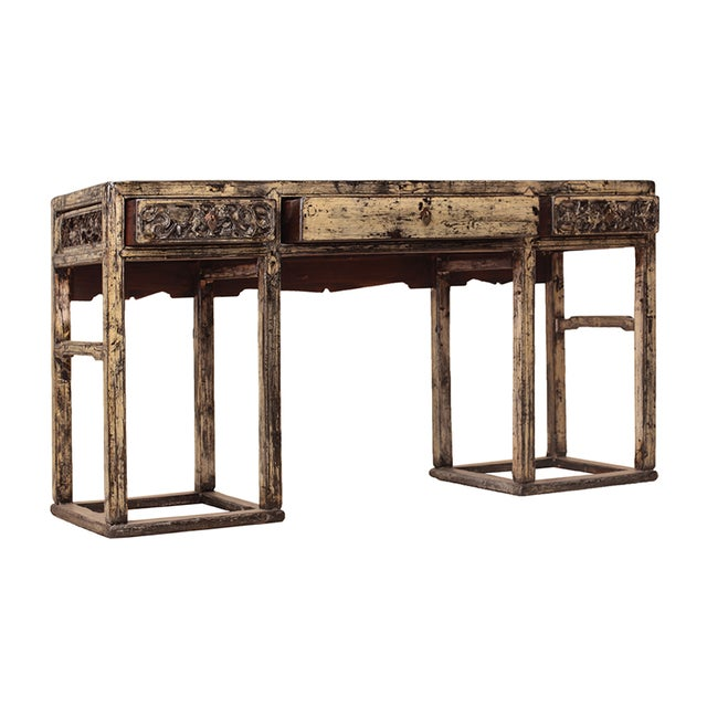 Chinese Yellow White Wood Altar Writing Desk - Image 3 of 5