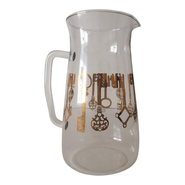 Vintage Pyrex Glass Gold Key Beverage Pitcher - Image 1 of 10