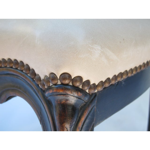 Cream Leather Spanish-Style Chairs - A Pair - Image 9 of 11