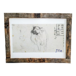 Reclaimed Barn Wood Framed Drawing of Cow