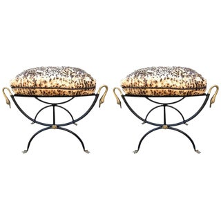 Italian Neoclassical Bronze & Iron Benches - A Pair