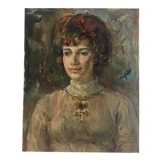 1970's Vintage Female Portrait Painting