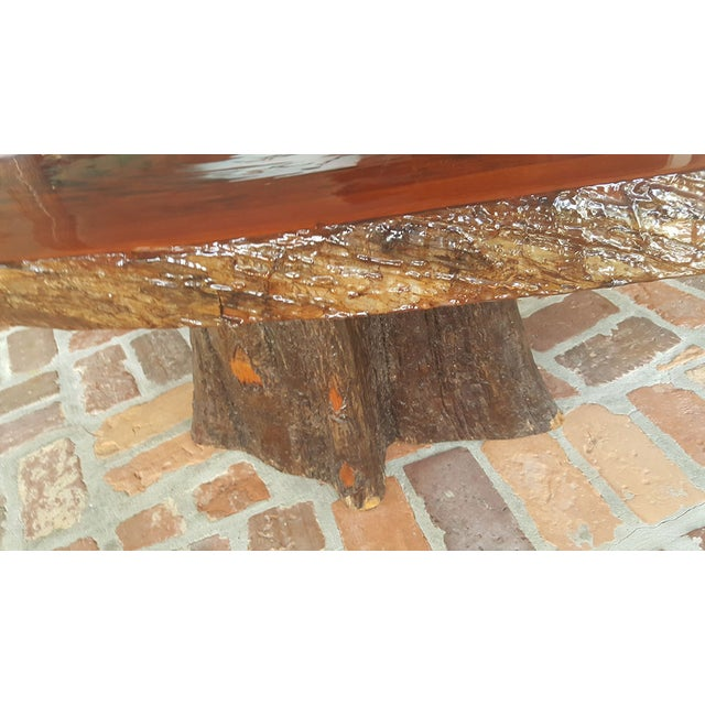 Tree Slab Coffee Table For Sale: Rustic Cypress Tree Slab Table