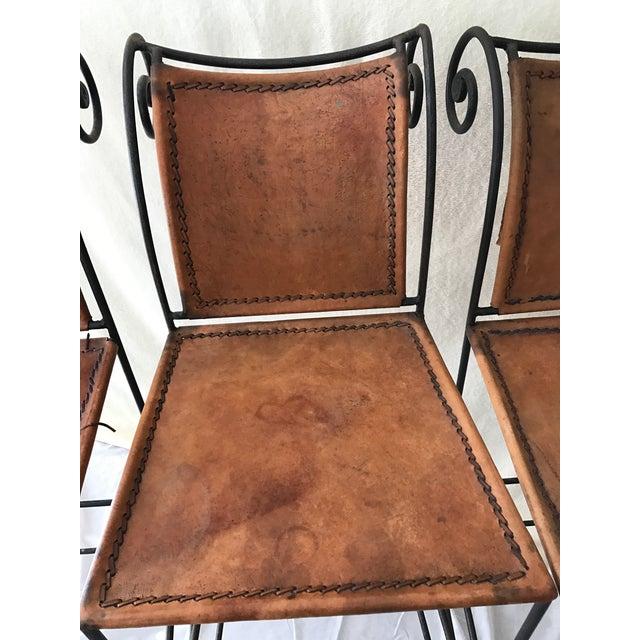 Scrolled Iron & Leather Bar Stools - Set of 3 - Image 5 of 11
