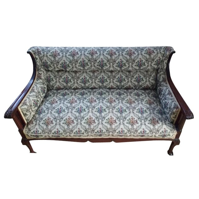 Antique Carved Walnut Settee on Wheels - Image 1 of 6