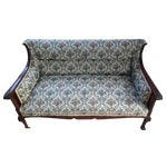 Image of Antique Carved Walnut Settee on Wheels