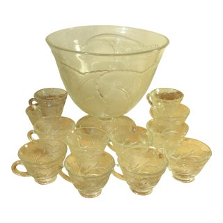 Indiana Glass Pebble Leaf Glass Footed Punch Bowl & Punch Cups - Set of 13