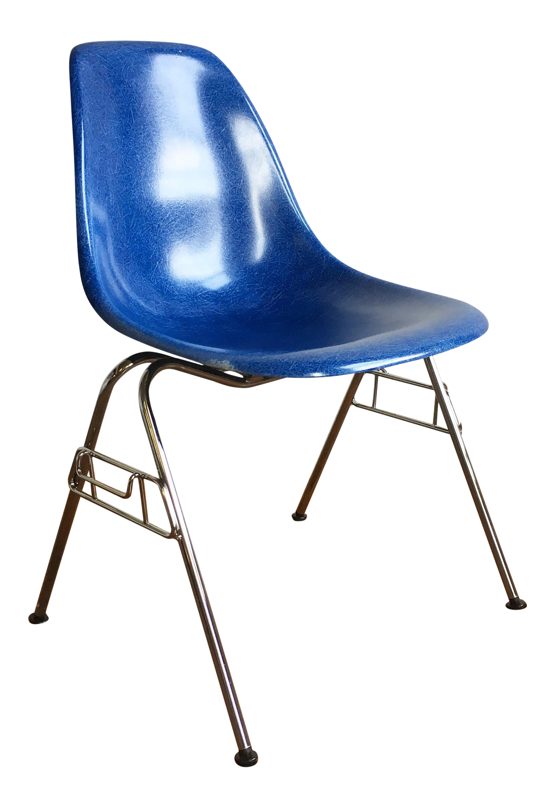 Awesome Herman Miller Eames Fiberglass Shell Chair In Royal Blue