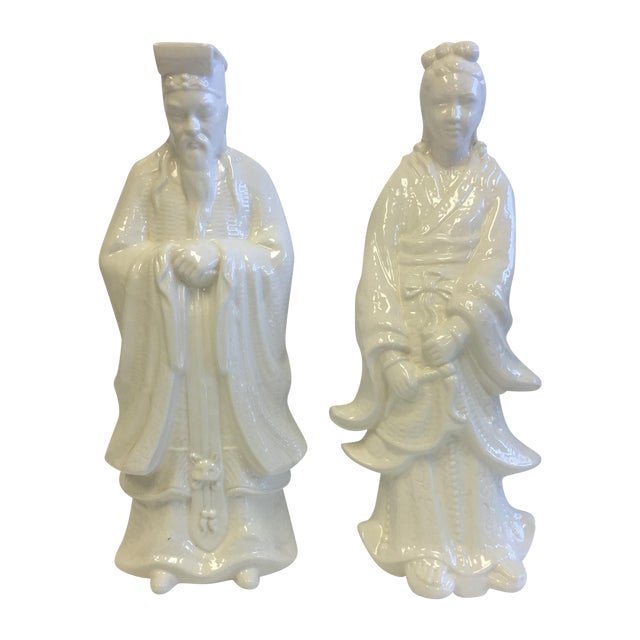 White Chinoiserie Statues - Pair - Image 1 of 11