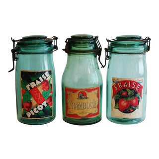 1930s French Canning Preserve Jars W/ Labels & Lids - Set of 3