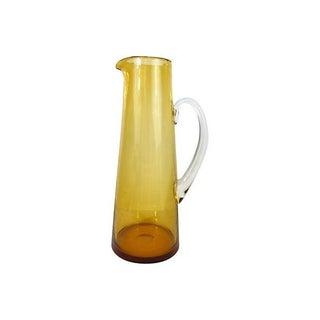 Tall Amber Hand-Blown Glass Pitcher