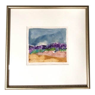 Vintage 1980s Abstract Watercolor Landscape