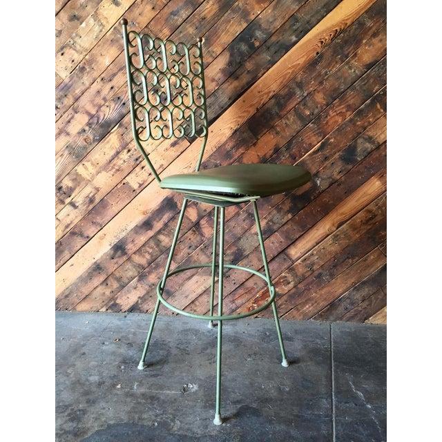 Salterini Painted Wrought Iron Sage Green Barstool - Image 4 of 5