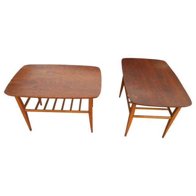 Lane Coffee Table With Drawers: Mid-Century Danish Modern Lane End Tables