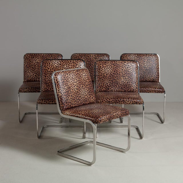 Image of Set of Six Chromium Steel-Framed Cantilevered Dining Chairs, 1960s