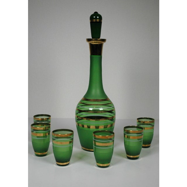 1960's Green Glass Bohemian Decanter Set - Image 2 of 6