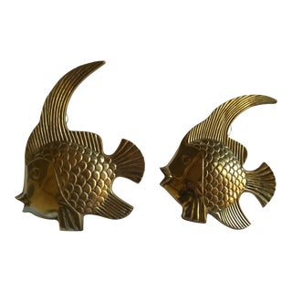 Vintage Brass Angel Fish - A Pair
