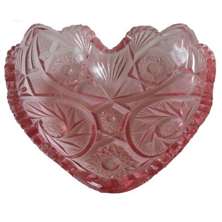 Vintage Pink Glass Heart Bowl
