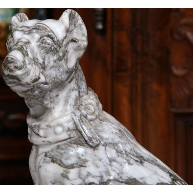 19th Century French Gray & White Marble Dog Figure - Image 3 of 10