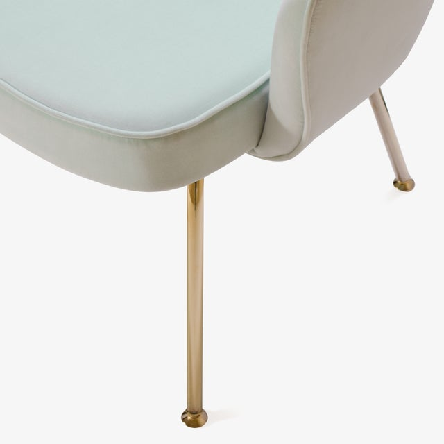 Image of Saarinen Executive Arm Chairs in Mint Velvet, 24k Gold Edition - Set of 6