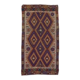 Handwoven Vintage Turkish Kilim Area Rug - 4′9″ × 8′9″