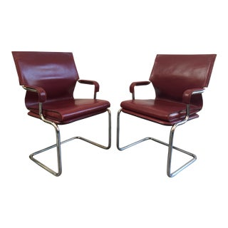 "Marcatre Red Leather & Chrome ""Uno"" Chairs"