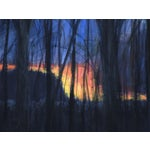 Image of Original Sunset Through Trees Painting