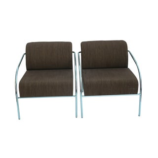 Mid-Century Chrome Upholstered Chairs - Pair