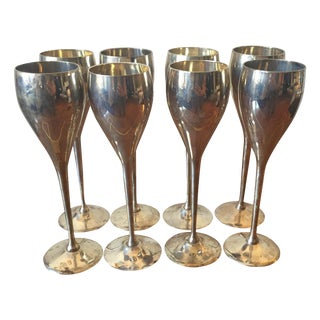 Silver Plated Goblets Flutes Glasses - 8