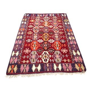 Vintage Turkish Kilim Rug - 5′9″ × 8′10″