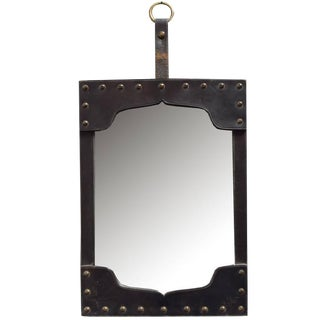 French Leather Framed Mirror