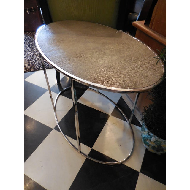 Theodore Alexander Oval Shagreen Top Table - Image 6 of 6