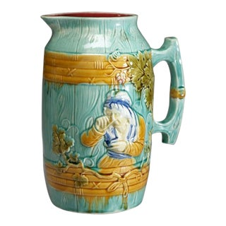 Barbotine Glazed Earthenware Milk Jug