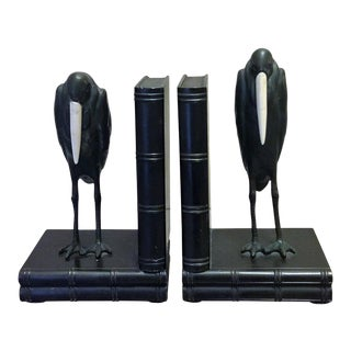 Art Deco Marcel Bouraine Maribou Stork Bookends - A Pair
