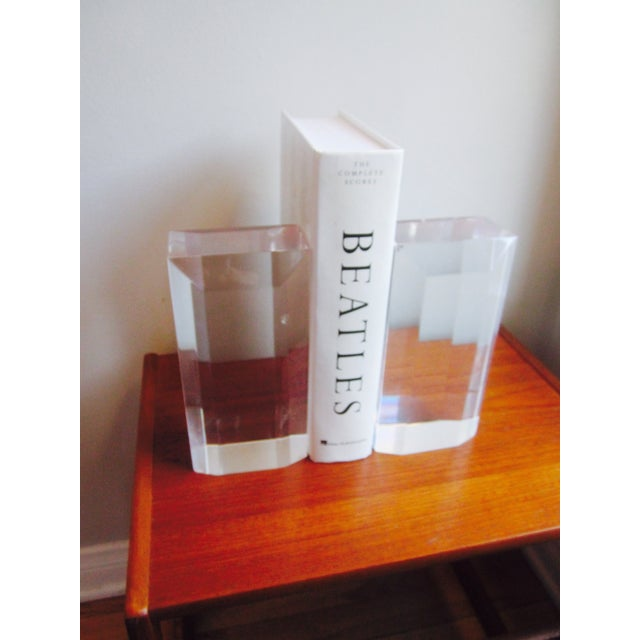 Image of Thick Lucite Bookends - A Pair