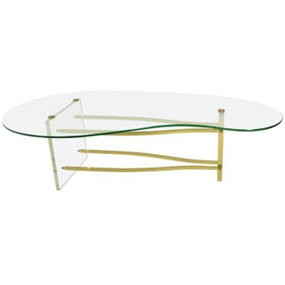 Lucite & Brass Cocktail Table