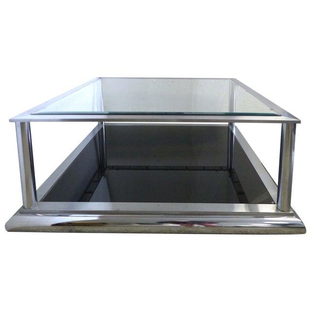 Chrome Beveled Glass Coffee Table Chairish