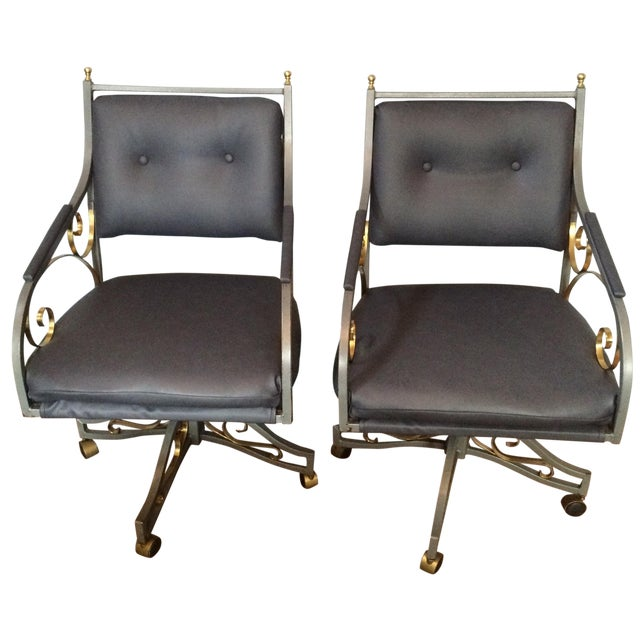 Hollywood Regency Office Chairs - A Pair - Image 1 of 9