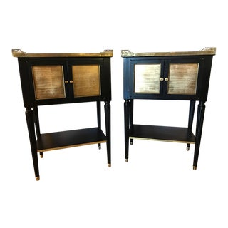 Pair of Maison Jansen Gilt Mirrored Bronze and Marble Top Louis XVI Style Stands