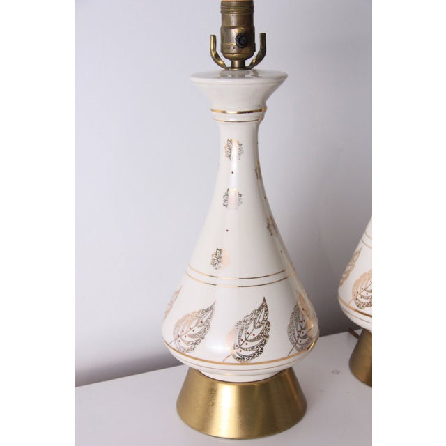 Image of Vintage White & Brass Mid-Century Lamps - A Pair