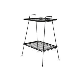 1950s Black Metal Mesh Side Table
