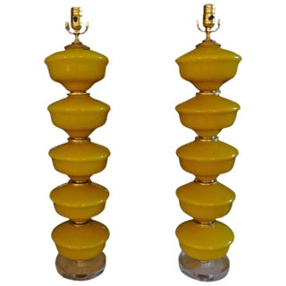 Circa1960's Yellow Murano Glass & Lucite Lamps - A Pair