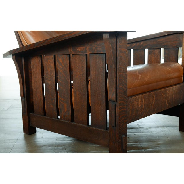 Warren Hile Studio Oak Morris Chair, Brown Leather - Image 9 of 10